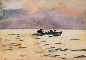 fine art/homer rowing home 1890 watercolor paper winslow