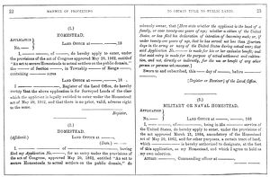 agriculture/homestead act 1862 application homestead published