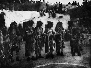 HOPI SNAKE PRIESTS, 1906. Hopi snake priests depositing snakes in the circle of
