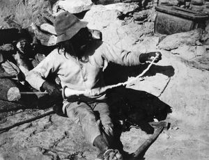 HOPI SPINNER, 1903. A Hopi man spinning cotton in the village of Oraibi, Arizona