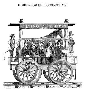 HORSE-POWERED LOCOMOTIVE. A horse-powered locomotive invented by C