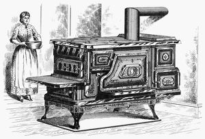 HOT WATER OVEN, 1875. American patent hot water reservoir and warming oven, 1875