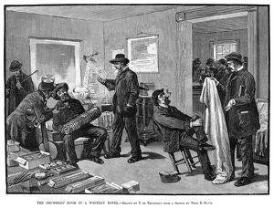 HOTEL: DRUMMERS ROOM, 1883. 'The Drummer's Room in a Western Hotel