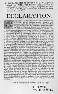 HOWE DECLARATION, 1776. Declaration by Richard Viscount Howe and his brother, General