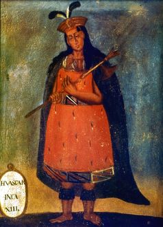 HUASCAR (c1495-1533). Incan emperor (1525-1532). Contemporary Spanish painting