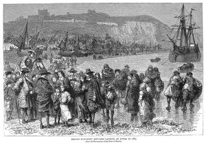 HUGUENOTS IN DOVER, 1685. French Huguenots landing at Dover, England, after the