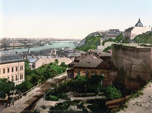HUNGARY: BUDAPEST, c1895. View of Franz Joseph's Bridge over the Danube River at Budapest