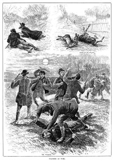 HUNTING, 1885. Hunters getting into a fight after the accidental death of the lurcher dog