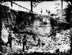 Hydraulic mining at Michigan City (later Michigan Bluff) in the Sierra Nevada mountains