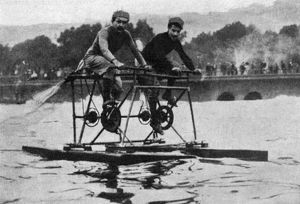 HYDROCYCLE, 1912. The Moretti brothers of Milan, Italy, on their tandem hydrocycle