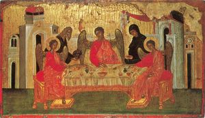 ICON: ABRAHAM & ANGELS. Abraham and Sarah serving the three angels in the grove of Mamre