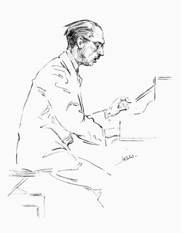 IGOR STRAVINSKY (1882-1971). American (Russian-born) composer. Pencil drawing, c1935