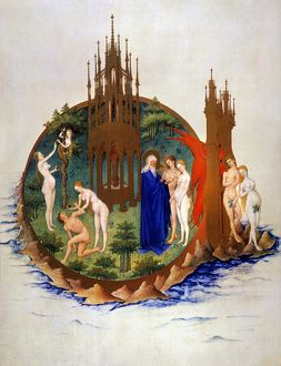 adam eve/illumination 15th century manuscript tres riches
