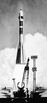 Illustration of a Soyuz rocket launching from the Baikonur launch complex near the