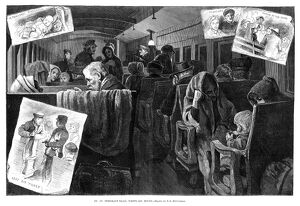 IMMIGRANT COACH CAR, 1881. 'On an Immigrant Train, Westward Bound.' Wood engraving