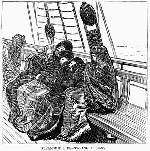 IMMIGRANT SHIP, 1870. European immigrants traveling to America, sleeping on the