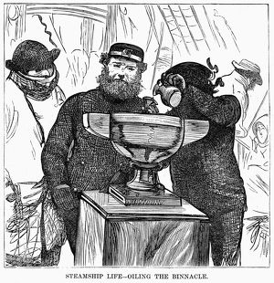 IMMIGRANT SHIP, 1870. 'Steamship Life - Oiling the Binnacle' on an immigrant