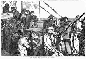 IMMIGRANT SHIP, 1870. 'Steamship Life - Steerage Passengers
