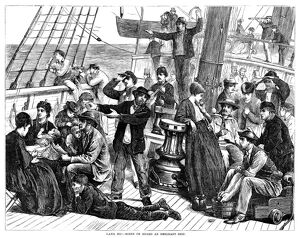 IMMIGRANT SHIP, 1871. 'Land, Ho! - Scene on Board an Emigrant Ship