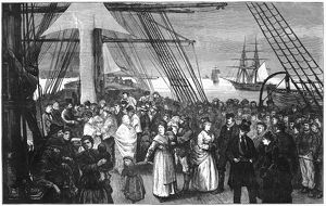IMMIGRANT SHIP, 1875. Landing of an immigrant ship in America. Wood engraving, American