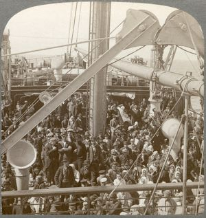 IMMIGRANT SHIP, 1906. Immigrants on the 'S