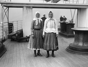 IMMIGRANTS ON SHIP, c1900. Two Eastern European women aboard an immigrant ship bound