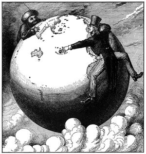 IMPERIALISM CARTOON, 1876. 'The Two Young Giants, Ivan and Jonathan, Reaching