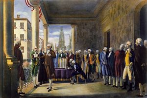The inauguration of George Washington as the first President of the United States at Federal Hall
