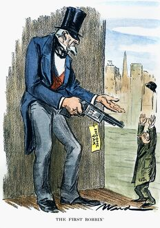 INCOME TAX CARTOON, 1928. 'The First Robbin'': American cartoon comment