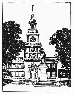 INDEPENDENCE HALL. Independence Hall in Philadelphia, Pennsylvania. Line drawing