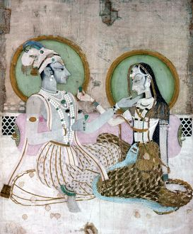 INDIA: COUPLE. A Hindu couple. Indian miniature painting.
