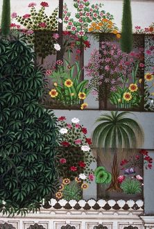 INDIA: GARDEN. Indian miniature painting from Udaipur.