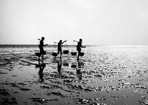 INDIA: ORISSA, 1957. Fishermen carrying baskets of fish along the ocean shore at