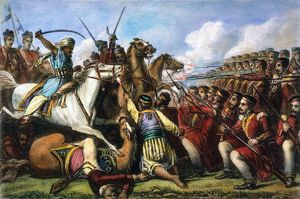 INDIA: SEPOY MUTINY, 1857. Sepoy mutineers cavalry attacking a British infantry square