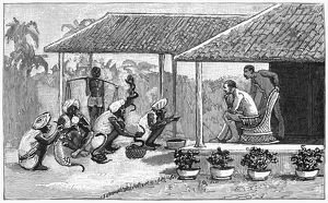 INDIA: SNAKE CHARMERS, 1887. Snake charmers performing for a British colonial in India
