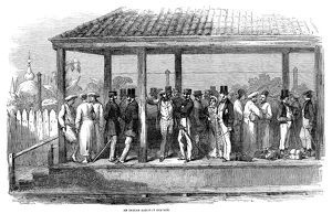 INDIA: TRAIN STATION, 1854. The Byculla railroad station in Bombay, India. Wood engraving