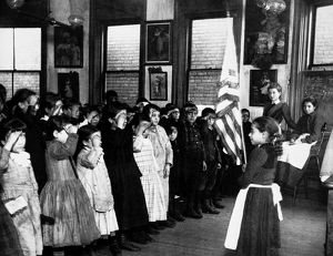 INDUSTRIAL SCHOOL, c1892. 'Saluting the Flag in the Mott Street Industrial School