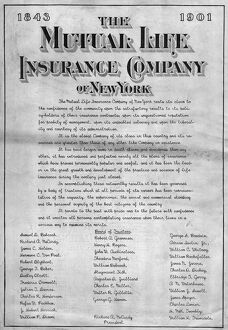 INSURANCE ADVERTISEMENT. American magazine advertisement for the Mutual Life Insurance