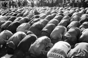 IRANIAN HOSTAGE CRISIS, 1979. Men bowing in prayer at a student demonstration in Washington, D