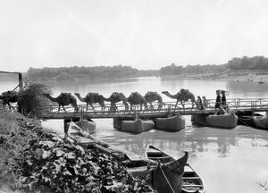 IRAQ: KUFA, 1932. Bridge over the Euphrates River at Kufa, Iraq. Photograph, 1932.