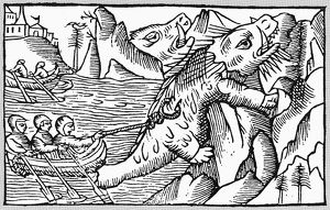 IRISH MONKS, 6th CENTURY. Irish monks encountering sea monsters