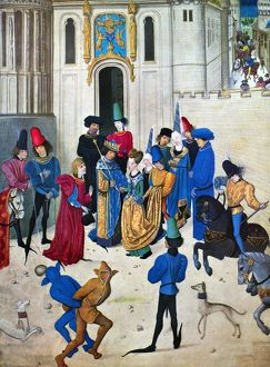 ISABELLA OF BAVARIA (1370-1435). Queen of Charles VI of France, 1389-1422. Isabella entering Paris