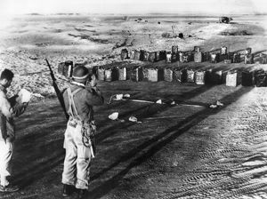 Israeli soldiers taking position at the demarcation line to Egypt before outbreak of conflict