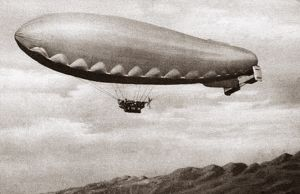Italian dirigible in flight over the Alps near the Piave Front during World War I