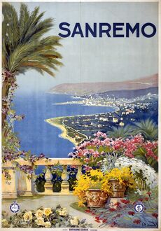ITALIAN TRAVEL POSTER, c1920. Poster promoting Sanremo, Italy. Lithograph, c1920
