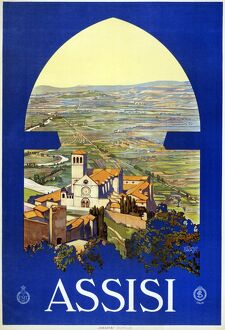 ITALIAN TRAVEL POSTER, c1920. Poster promoting travel to Assisi, Italy