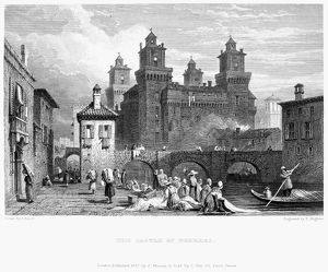ITALY: CASTLE OF FERRARA. /nSteel engraving, 1832.