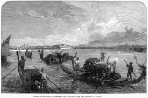 ITALY: VENICE, 1866. Gondolas conveying passengers and luggage over the lagoon to Venice