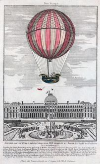 Jacques Alexandre Cesar Charles and Marie-Noel Robert riding the gondola of a balloon