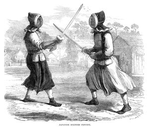 sports/japan fencing 1864 japanese soldiers fencing